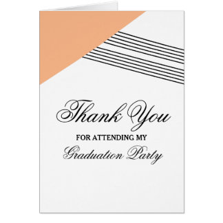 Orange Geometric Stripe Graduation Thank You Card