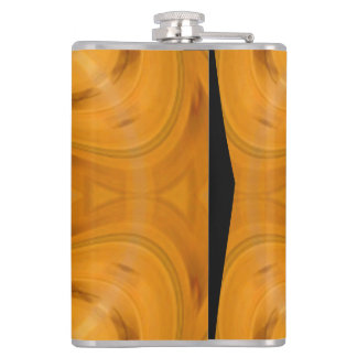 Orange geometric wood pattern hip flask