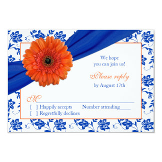 Orange Gerber Cobalt Damask Floral Wedding RSVP Card