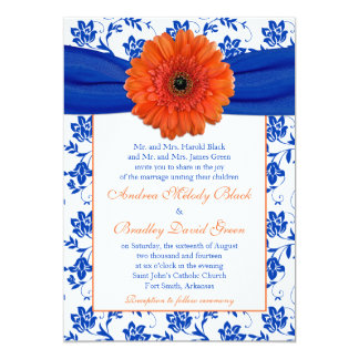 Orange Gerber Cobalt Floral Wedding Invitation