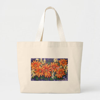 orange gerber daisies large tote bag