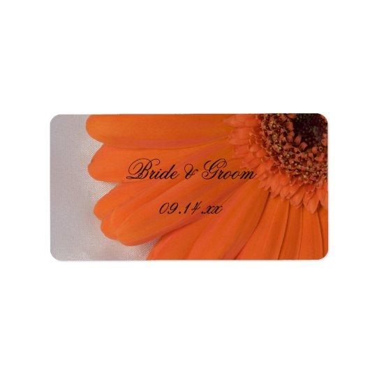 Orange Gerber Daisy and White Satin Wedding Label