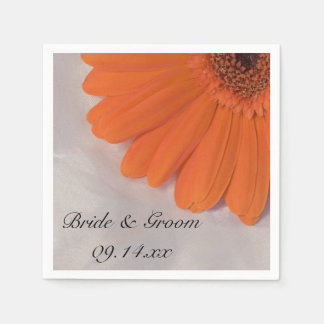 Orange Gerber Daisy and White Satin Wedding Paper Napkin