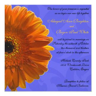 Orange Gerber Daisy Blue Wedding Invitation