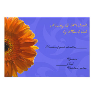 Orange Gerber Daisy Blue Wedding RSVP Invite