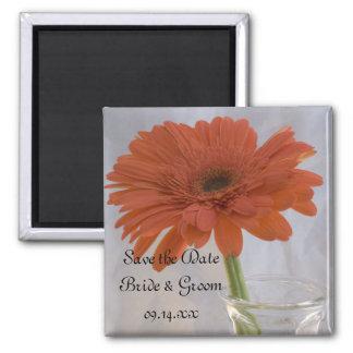 Orange Gerber Daisy in Vase Wedding Save the Date Square Magnet