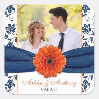 Orange Gerber Daisy Navy Damask Wedding Stickers