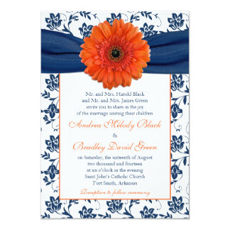 Orange Gerber Daisy Navy Floral Wedding Invitation