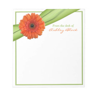 Orange Gerber Daisy Ribbon Personalized Notepad