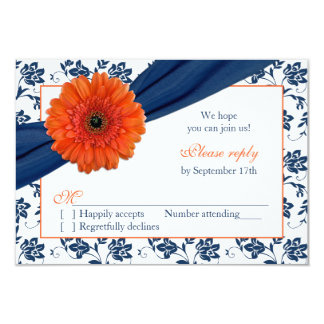 Orange Gerber Navy Blue Damask Floral Wedding RSVP Card
