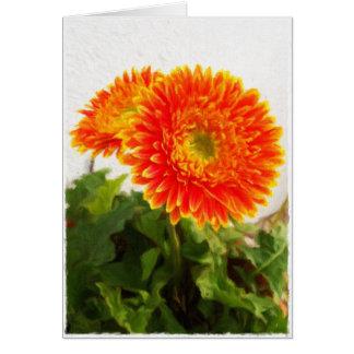 Orange gerbera against white wall blank card