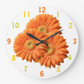 Orange Gerbera Daisies Clock