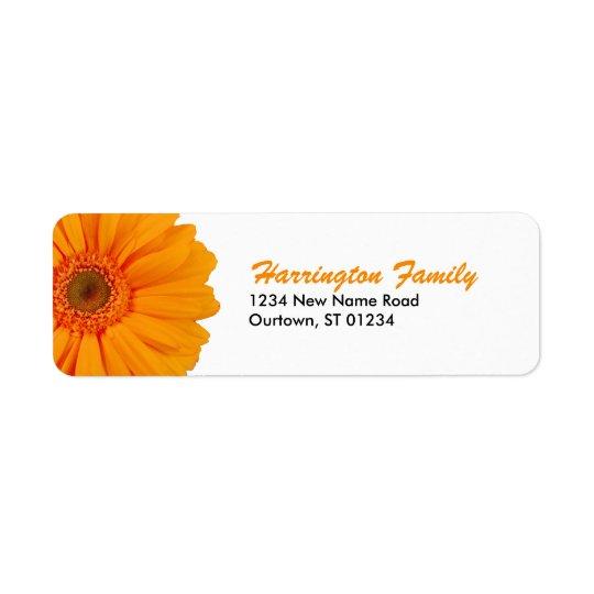 Orange Gerbera Daisy Avery Label Return Address Label