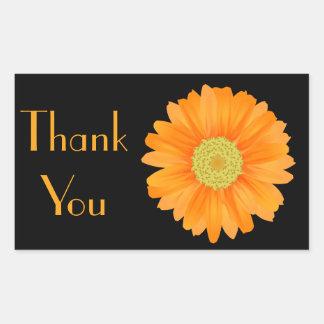 Orange Gerbera Daisy Black Floral Sticker / Seal Rectangular Sticker