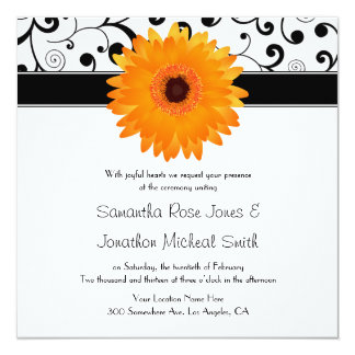 Orange Gerbera Daisy Black Scroll Design Wedding 13 Cm X 13 Cm Square Invitation Card