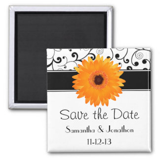 Orange Gerbera Daisy Black Scroll Save the Date Magnet