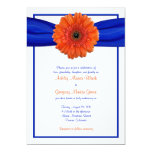 Orange Gerbera Daisy Blue Wedding Invitation