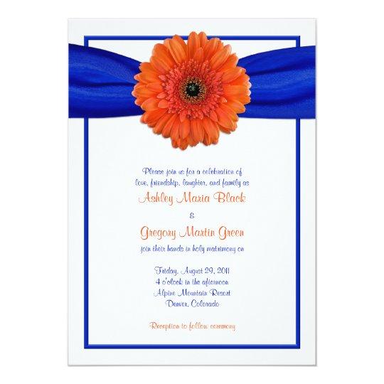 Hot Pink Gerbera Daisy White Wedding Invitation 5 X 7: Orange Gerbera Daisy Blue Wedding Invitation