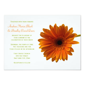 Orange Gerbera Daisy Green Wedding Invitation