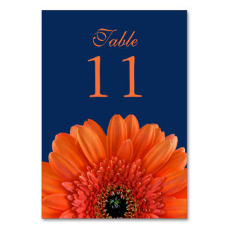 Orange Gerbera Daisy Navy Blue Wedding Table Cards