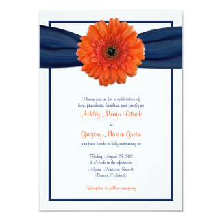 Orange Gerbera Daisy Navy Wedding Invitation