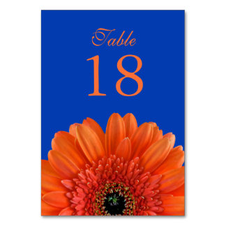 Orange Gerbera Daisy Royal Blue Wedding Table Card