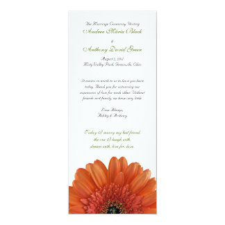 Orange Gerbera Daisy Wedding Program 10 Cm X 24 Cm Invitation Card