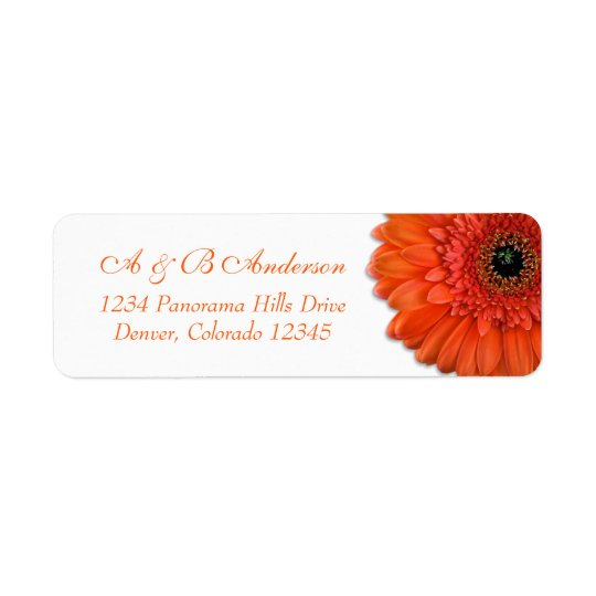 Orange Gerbera Daisy Wedding Return Address Label