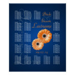 Orange Gerbera Daisy Wedding Seating Chart