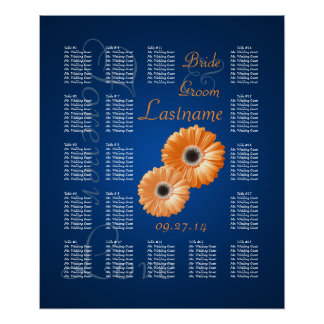 Orange Gerbera Daisy Wedding Seating Chart
