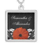 Orange Gerbera Daisy with Black and White Scroll Pendants