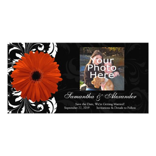 Orange Gerbera Daisy with Black and White Scroll Custom Photo Card