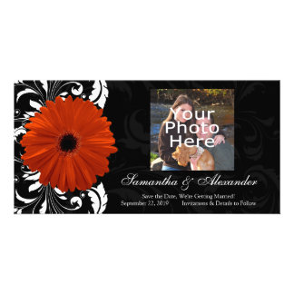 Orange Gerbera Daisy with Black and White Scroll Photo Card Template