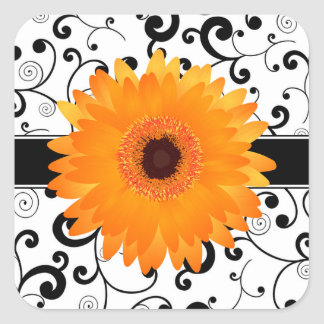 Orange Gerbera Daisy with Black Scroll Design Seal