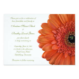 Orange Gerbera Wedding Invitation