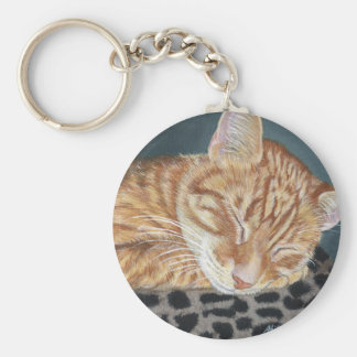 Orange Ginger Tabby Sleeping Cat Painting Art Key Ring