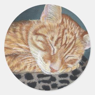Orange Ginger Tabby Sleeping Cat Painting Art Round Stickers