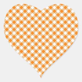 Orange Gingham Background Heart Sticker