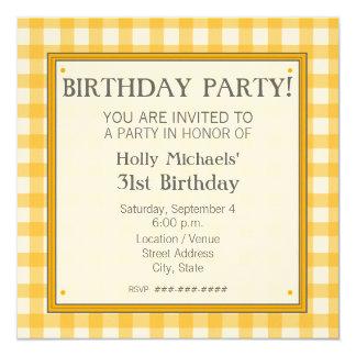 Orange Gingham Birthday Party Invitation