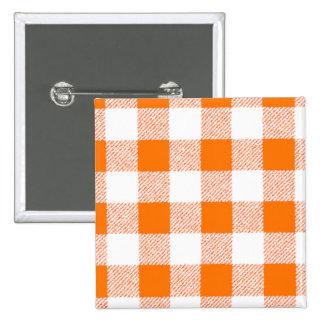 Orange Gingham Check Pattern 15 Cm Square Badge