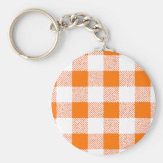 Orange Gingham Check Pattern Basic Round Button Key Ring