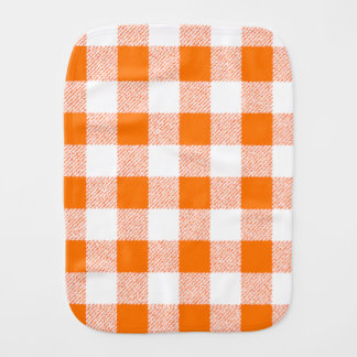 Orange Gingham Check Pattern Burp Cloth