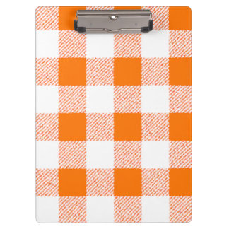 Orange Gingham Check Pattern Clipboard