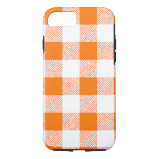 Orange Gingham Check Pattern iPhone 8/7 Case