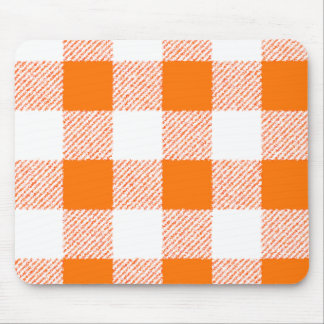 Orange Gingham Check Pattern Mouse Mat