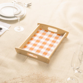 Orange Gingham Check Pattern Serving Tray