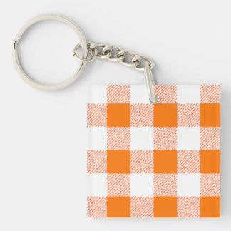 Orange Gingham Check Pattern Single-Sided Square Acrylic Key Ring