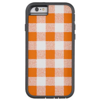 Orange Gingham Check Pattern Tough Xtreme iPhone 6 Case