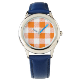 orange gingham check wristwatch