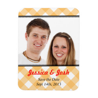 Orange gingham country wedding save the date rectangular photo magnet